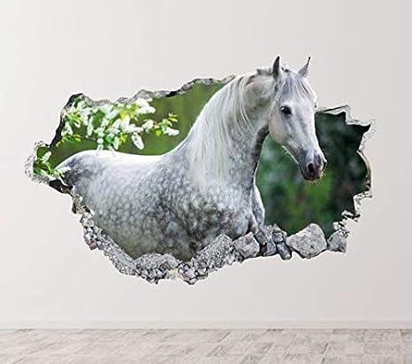 Caballo Semental Blanco Animal Calcomanía Wall Decals Sticker Removible Autocolante Decorativo Pegatina de Pared Decoración Dormitorio Cuarto Salón M429 (Pequeño: 50 cm x 30 cm)