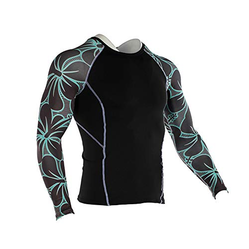 Men's Sports Compression Apparel Base Layers Workout Long Sleeve Shirt Wolf Tattoo Running Motion Training Sport Fitness