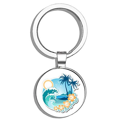 HJ Media Tropical Ocean Beach Waves Palm Tree Vacation Metal Round Metal Key Chain Keychain Ring