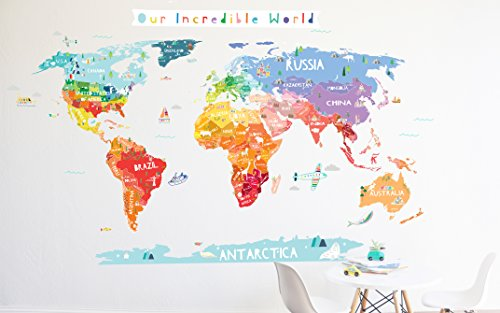 World Map Wall Decal - Our Incredible World World Map Wall Decal with Personalization stickers - Wall Sticker - Room Decor - World Map by The Lovely Wall Co.
