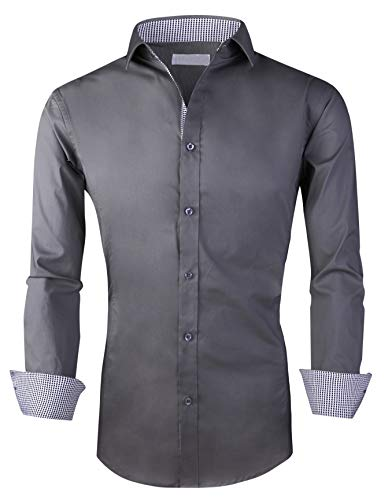 Esabel.C Men's Dress Shirts Long Sleeve Regular Fit Business Casual Button Down Shirts Charcoal Grey XXL