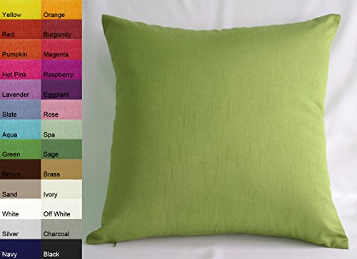 Creative Faux Silk Solid Euro Sham / Pillow Cover 26 by 26 - Green