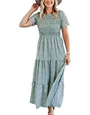 Maggeer Women's Summer Bohemian Short Sleeve Smocked Floral Tiered Maxi Dress