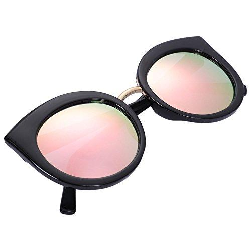 gato Negro amp; mujer de S17023 de de clasicas sol sol Gafas sombras rosado TOOGOO UV400 moda ojo verano Lente de Gafas espejo Negro marco gafas de de zOxCB4