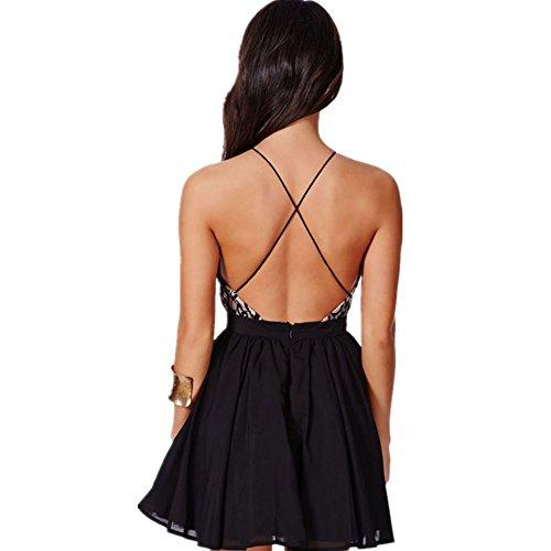Vestido de verano, RETUROM Venta caliente del cóctel de las mujeres Backless sin mangas mini vestido Negro