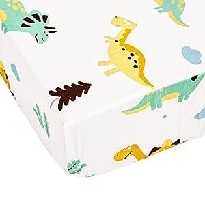Brandream Dinosaur Crib Bedding Sets with Crib Wrap Rail Cover White 100% Breathable Cotton 9 Pieces