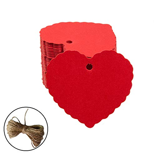 (200pc Peach Heart Shape Kraft Paper Tags, CRIVERS Gift Tags/Hang Tags with Free Natural Jute Twine for Christmas Wedding Thanksgiving Birthday Holiday Party Favors (Red))