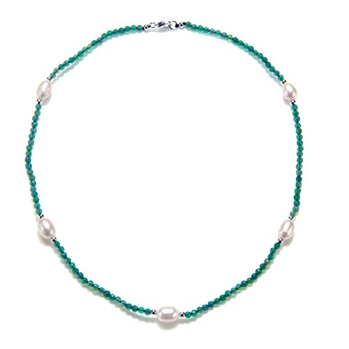 Agate Rhodium Plated Necklace (Rhodium Plated Silver Green Agate Cultured Freshwater Pearl Necklace-17