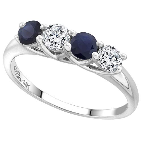 (14k White Gold Genuine Ceylon Sapphire & Diamond 4-Stone Ring Round Brilliant cut 0.4cttw 3.7mm size 6)