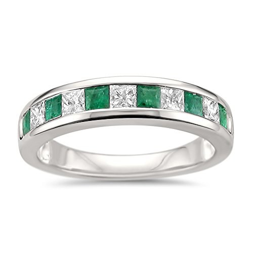 - La4ve Diamonds 14k White Gold Princess-Cut Diamond & Natural Green Emerald Wedding Band Ring (1 cttw, H-I, I1-I2), Size 4.5