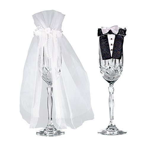 Black Stem Flutes (Amscan 355000 Champagne Flutes Design Bride and Groom Stem Wear 2 pieces Multicolor)