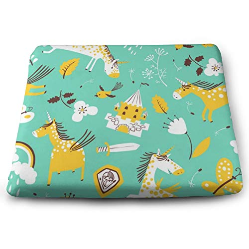 Pamdart Flower Bird One-Horned Pony Green Background Customized Square Seat Cushion Memory Cotton Zipper Detachable for Dining Table Patio Chair