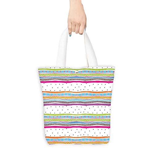 - Grocery Bag Striped Abstract Wavy Stripes Polkadots Ribbons Bows and Hearts Pattern Girly Design Green Blue Pink White (W15.75 x L17.71 Inch)