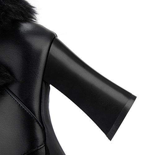 de Piel Negro Mujer para Botas Piel Dorado BalaMasa Lazo Cuello con de y sintética zc5UqOxO