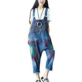 Flygo Women's Loose Baggy Cotton Wide Leg Drop Crotch Printed Bib Overalls Jumpsuit Rompers