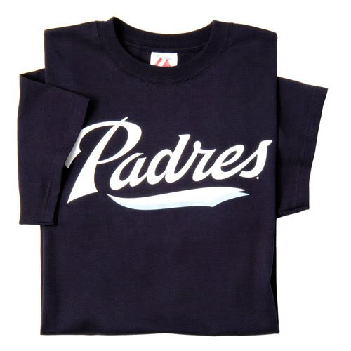 (San Diego Padres (YOUTH LARGE) 100% Cotton Crewneck MLB Officially Licensed Majestic Major League Baseball Replica T-Shirt Jersey)