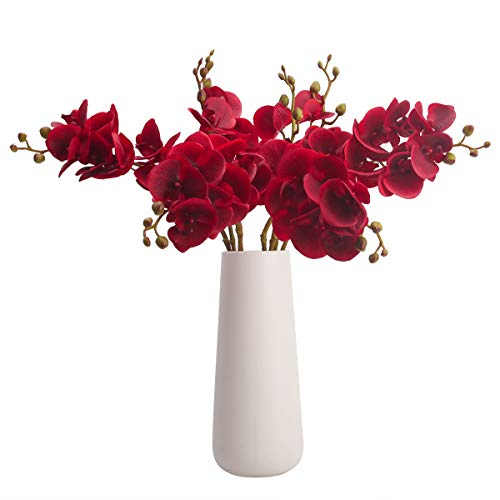 Bomarolan Artificial Butterfly Orchid Real Touch Double Branch Silk Flowers 4 Pcs for Wedding Home Party Hotel Decoration(Red) (Silk Red Orchids)