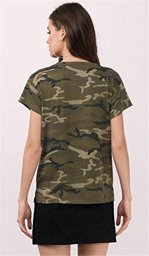 Ejército Militar Camo Camuflaje Estampado Bolsillos en la Parte Delantera Manga Corta T-Shirt Camiseta Playera Tee Top Verde Verde