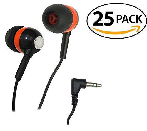 SmithOutlet 25 Pack Orange/Black/Chrome Bulk Earbuds Silicone Tip Headphones