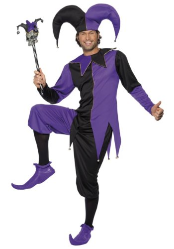 [Smiffy's Men's Medieval Jester Costume, Top with Attached Neck Piece, pants and Hat, Tales of Old England, Serious Fun, Size M,] (Medieval Mens Costumes)