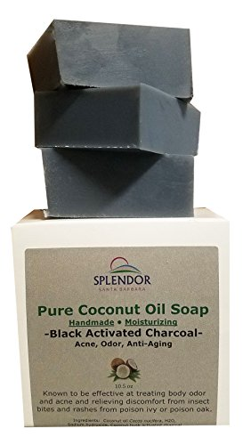 Black Activated Charcoal Soap Unscented, 100% Natural Coconut Oil Soap Bars- Acne, Odor, Anti-aging. Handmade, Vegan, Moisturizing for Hand Body and Face
