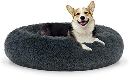 The Dog s Bed Sound Sleep Donut Dog Bed, Med Steel Grey Plush Removable Cover Premium Calming Nest Bed