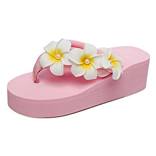 Sandales YOUJIA Pink Femmes Plage Plateforme Boho Fleurs Compensées 6 Tongs été wHq7wx8p
