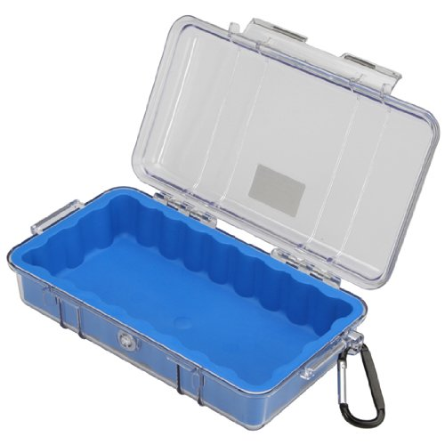 Waterproof Case | Pelican 1060 Micro Case - for iPhone, cell phone, GoPro, camera, and more (Blue/Clear)