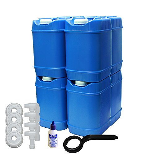 5-Gallon Stackable Water Container kit (40 Total Gallons), 8 Pack, Blue, BPA Free, High Density Polyetholene (HDPE) with Built In Handle with Water Preserver plus 4 Additional Lids & 4 Total Spigots