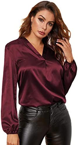 Romwe Women's Glamorous Satin Lantern Long Sleeve V Neck Solid Blouse Top Shirt
