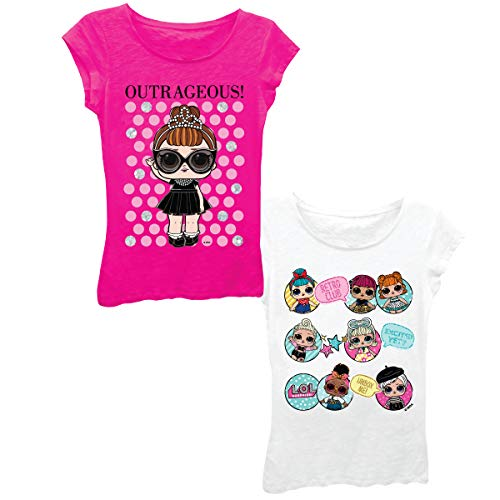 L.O.L. Surprise! Girls 2 Pack T-Shirt (HOT Pink/White, M-7/8)