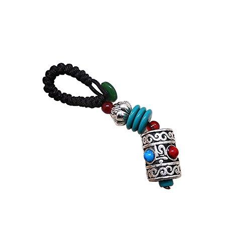 Mr.Ho Car Keychain Pendant, Key Ring Handmade National Tibetan Silver Pendant for Car & Bag Handbag Decoration
