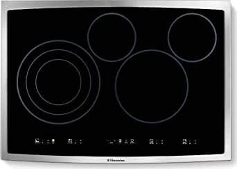 Electrolux EI30EC45KS Smooth Surface Electric Cooktop, 30-Inch, Black Glass with Stainless Trim