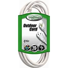 Coleman Cable 02352-01 16/3 20-Foot Vinyl Landscape Outdoor Extension Cord (White)