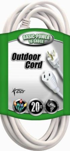 Cord Coleman Cable - Coleman Cable Outdoor Extension Cord In White (20 Ft, 16 gauge)