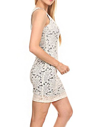 Avorio Abito Bodycon Nero Pizzo Floreale Mini Solido Color Sexy q46p0nWB