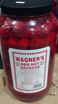 Wagner's Red Hot Sausage 4 Lb. (Made with Beef) (Sausages Pickled Bar)