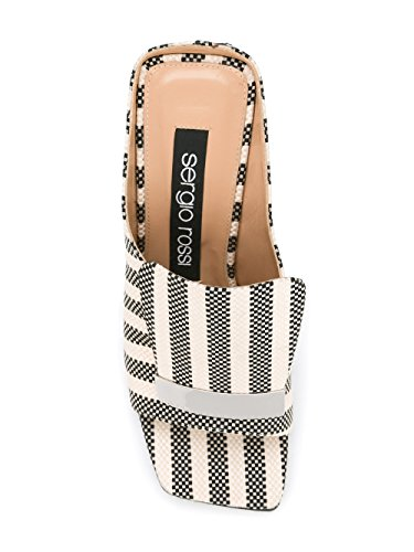Sergio A77980MTE1211498 Blanc Noir Coton Rossi Talons Chaussures Femme À rwFEqrB