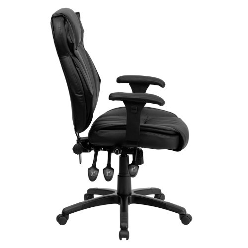 Flash Furniture High Back Leather Chair, Black
