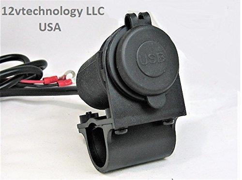 Highest Power 4.8 Amp USB Charger Socket 12V Motorcycles Handlebar Mount And Wires #CP/Ahrn60-SBPN/SMNT