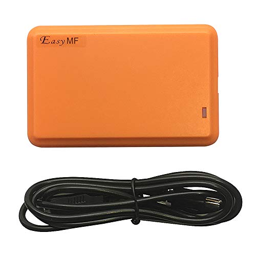EasyMF RFID Reader Writer Reads UID of S50 S70 14443A RFID Card & Writes S50 S70 Sector, Emulate USB Keyboard or USB 2.0 Interface Android Linus +5 Cards (Yellow)