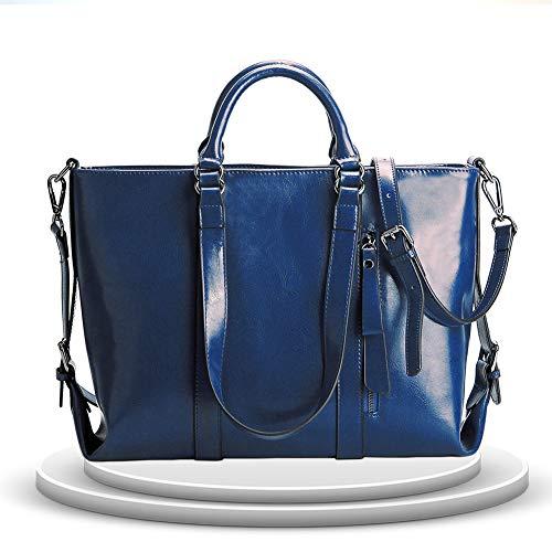 Kricson Umhängetasche Damen Gross Wasserabweisend Echtes Leder Taschen Schultertasche mit Fächern Vintage Damen und Herren Handtaschen Schule oder Büro