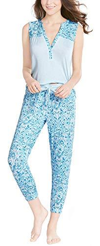 Ink+Ivy Womens Pajamas Set, Button Sleeveless Jogger Capri Sweet Paisley M