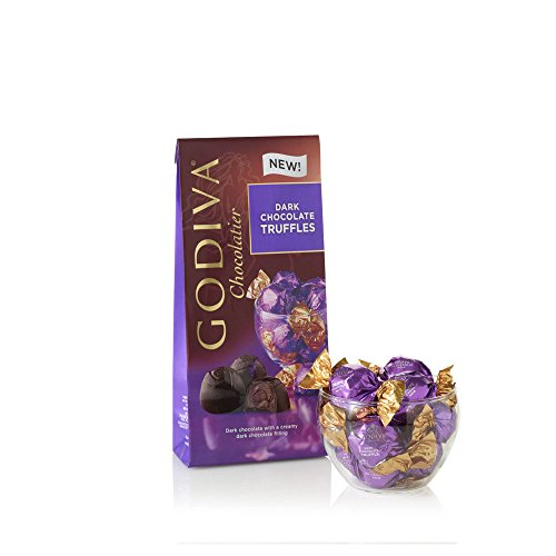 Box Dark Chocolate Truffles - GODIVA Chocolatier Wrapped Dark Chocolate Truffles, Great as a Gift