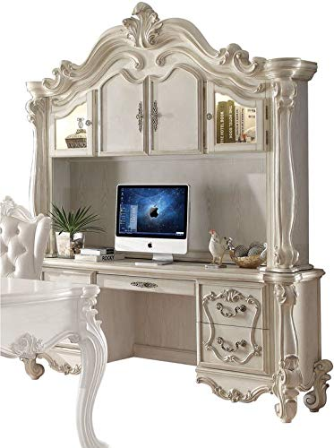 Hutch Cottage - ACME Versailles Bone White Desk with Hutch