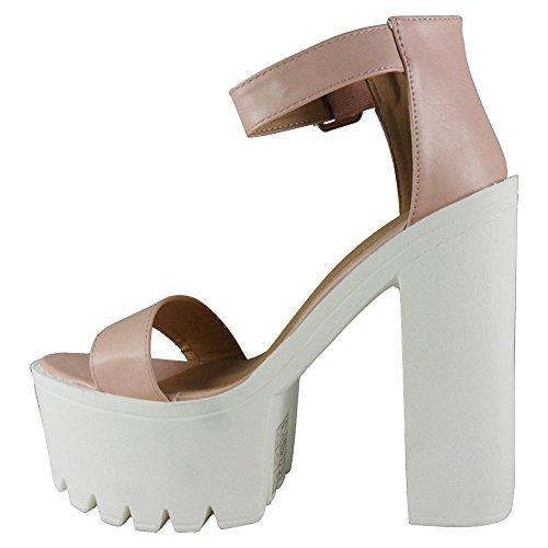 Damen Sandalen mit Knöchelriemen, hohe Plateausohle, High-Heel-Schuhe, Größe 36-39 PASTEL PINK PU