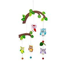 Baby Mobile - Wooden Crib Mobile for Nursery Decor - Various Designs for Boys & Girls - Kids Room Decoration (Owls & Birds)