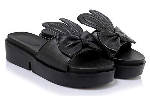 Enfiler Nœud Fermeture Easemax Ouvert Bout Mules Mode Noir à Femme gwBZI