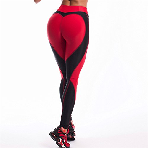 Xuanytp Yogahosen Frauen Sporting Hosen Abnehmen Workout Fitness Leggings Frauen Herzförmige Patchwork Leggings Atmungs Leggins