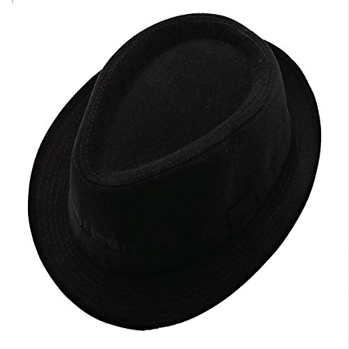 List A Mens Velvet Fedora Hat Selections - Stylish Trilby Panama Hat (Black)